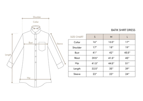 Shirt Dress Size Chart