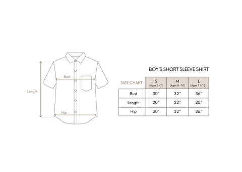 Boy's Shirt Size Chart