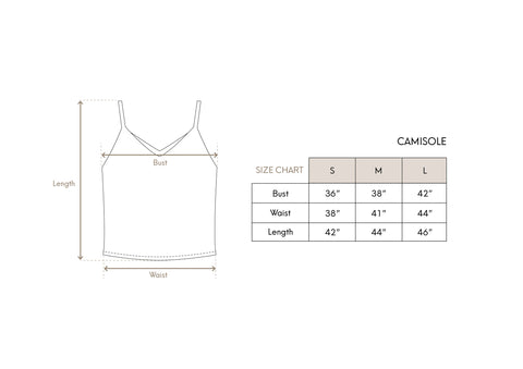 Camisole Size Chart