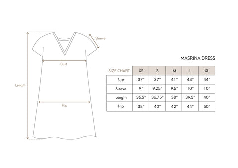 Masrina Dress Size Chart