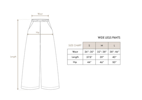 Wide Leg Pants Size Chart