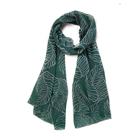 ethically made handmade batik green leaf scarf