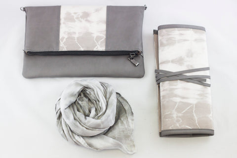 Mangosteen scarf, clutch and jewelry roll from the Eco Collection - Batik Boutique
