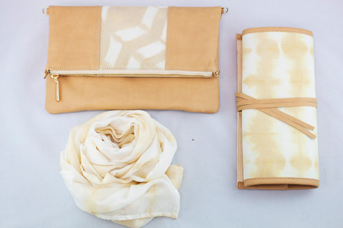 Turmeric scarf, clutch and jewelry roll from the Eco Collection - Batik Boutique