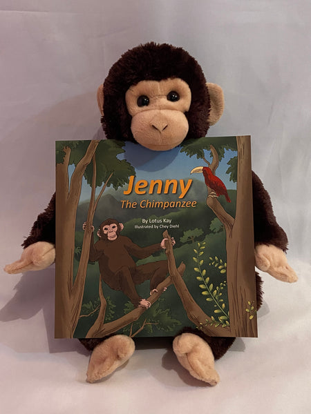 """Jenny the Chimpanzee"" Book and  toy Jenny: By Lotus Kay & illustrated by Chey Diehl"