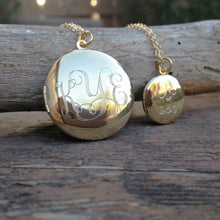 Engraved Monogram Large Locket Necklace