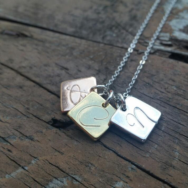 Petite Squares Stamped Necklace