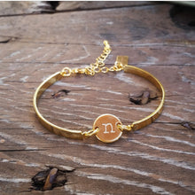 Linked Initial Stamped Bangle Bracelet