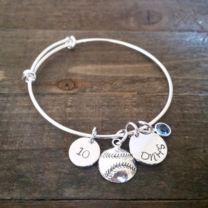 Sports Mom Hand Stamped Bangle Bracelet