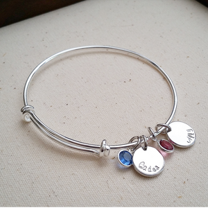 Custom Names Hand Stamped Bangle Bracelet