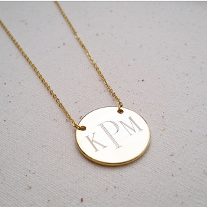 Engraved Initial or Monogram Pendant Necklace