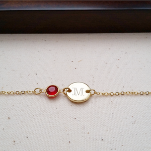 Dainty Initial & Birthstone Hand Stamped Bracelet