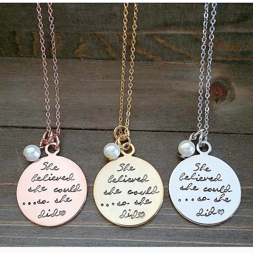 She Believed Stamped Necklace