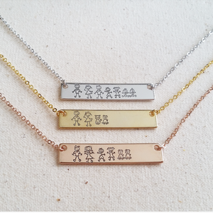 Family Bar Necklace - Hand Stamped