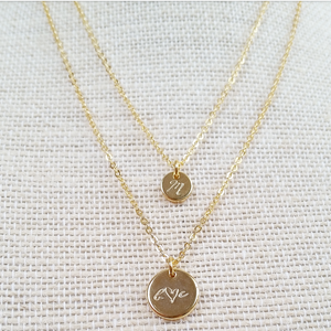 Double Disc Necklace Set - Hand Stamped