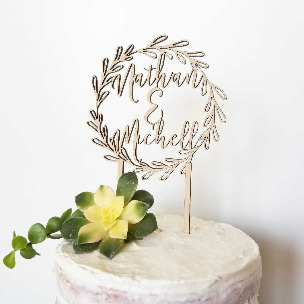 Wreath Names Cake Topper