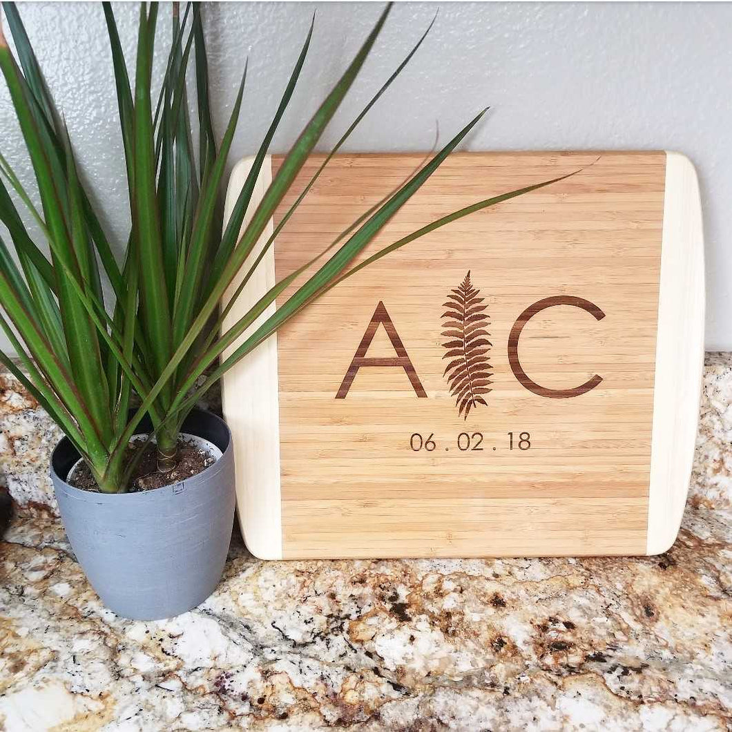 Fern Leaf Initials Cutting Board
