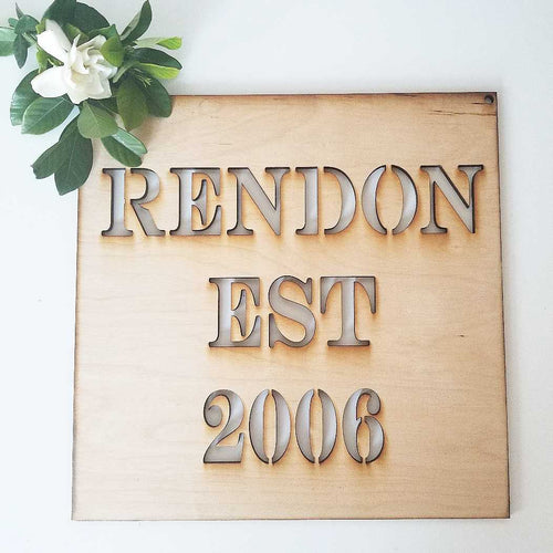 Custom Established Square Sign