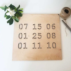 Custom Dates Square Sign
