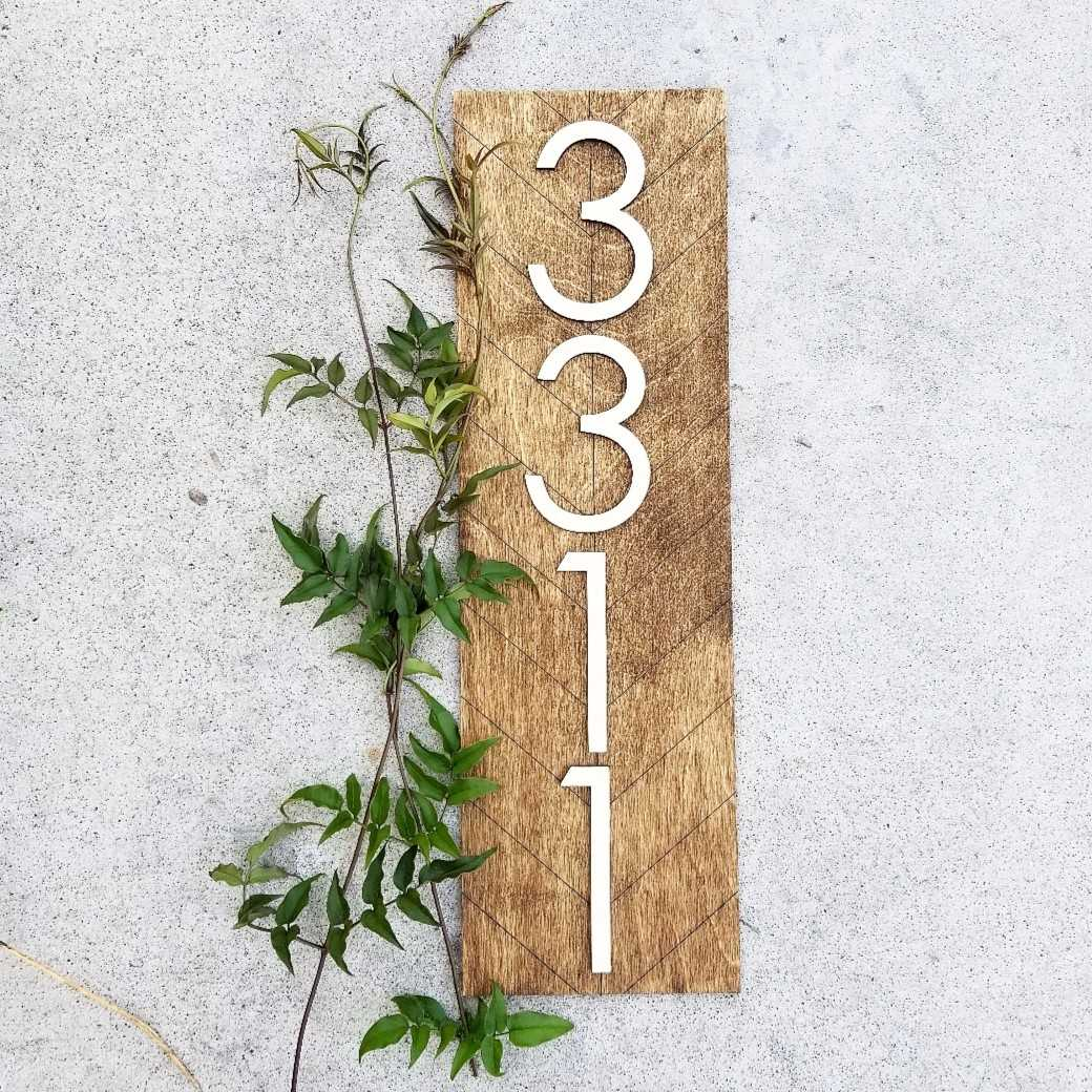 Herringbone Address Sign - Rectangle