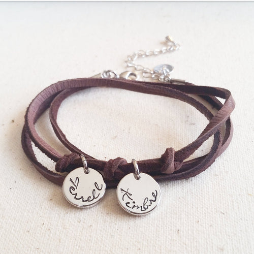 Petite Leather Wrap Handstamped Bracelet - Mom Jewelry, Kids' Names Bracelet, Personalized Charm Bracelet