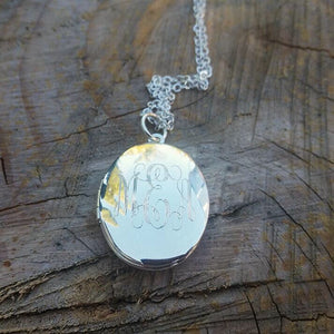 Engraved Monogram Medium Oval Locket Necklace