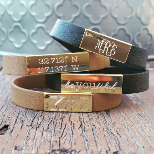 Engraved Nameplate Leather Bracelet