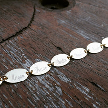 Petite Oval Engraved Names Charm Bracelet