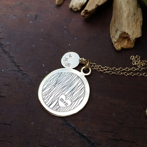 Carved Initials Engraved Necklace