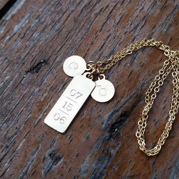 Vertical Engraved Tag Necklace