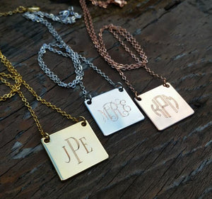 Engraved Square Pendant Necklace