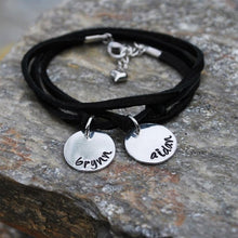 Leather Wrap Hand Stamped Bracelet
