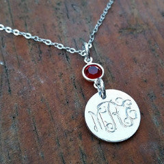 Channel Drop Engraved Monogram Necklace