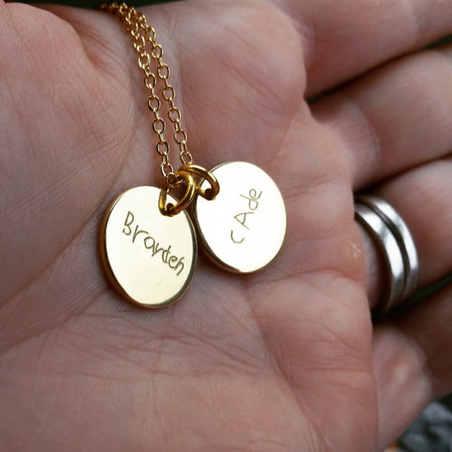 Sterling / Rose / Gold Filled Engraved Handwriting Necklace