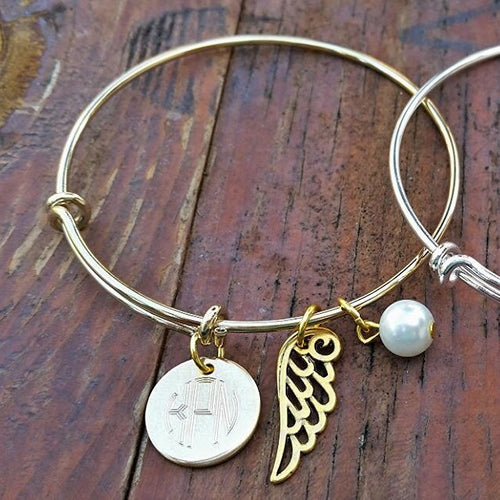 Engraved Monogram Bangle Bracelet with Charm