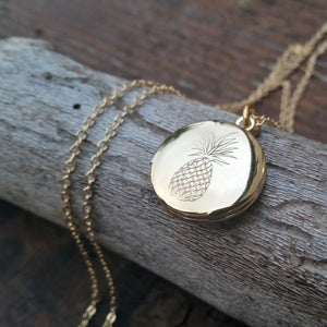 Engraved Pineapple Mini Locket Necklace