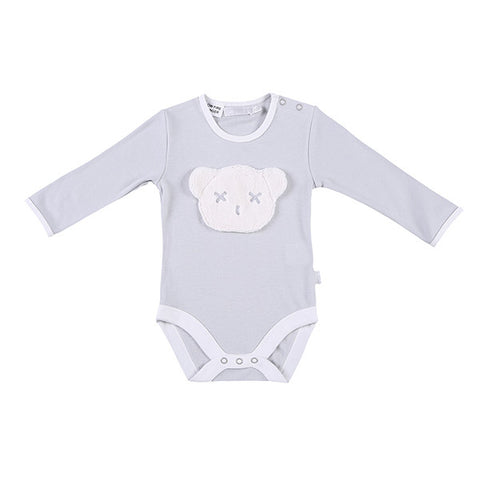 Britt Bear Long Sleeve Head Romper (0-3 months) - Grey