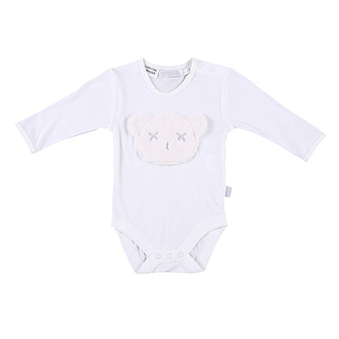 Britt Bear Long Sleeve Head Romper (0-3 months) - White