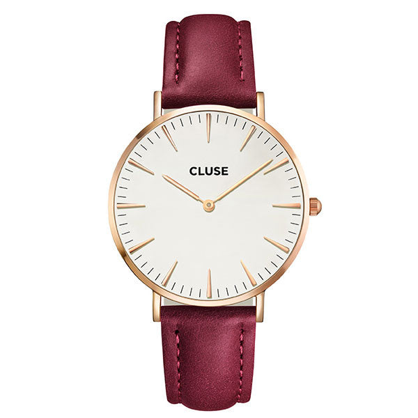 Cluse La Boheme Watch - Rose Gold with White Face & Marsala Strap
