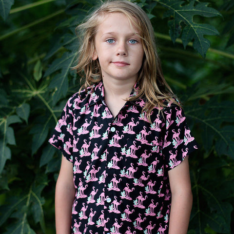 Handsome Me Flamingo S/S Shirt - Black