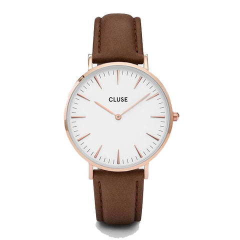 Cluse La Boheme Watch - Rose Gold White/Brown