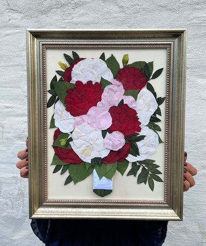 12x16 pressed wedding flowers, roses and carnations