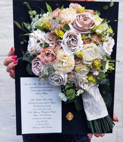 wedding flowers preserved in a shadow box