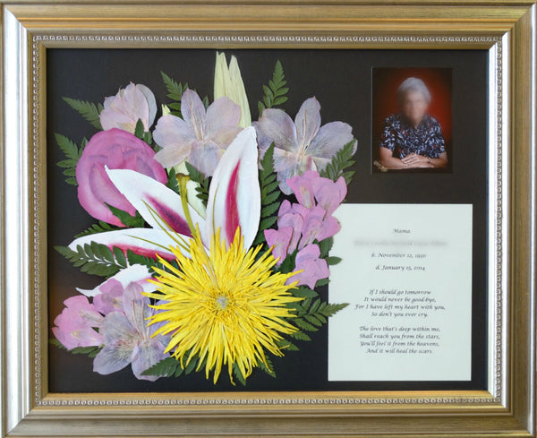 This Victorian pressed flower design is the ideal size to display a flower arrangement along with both a photograph and a prayer card. Customize this display with your selection of frame and mat. Prices start at $445.