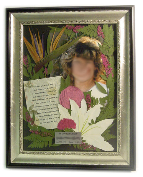 This Victorian pressed flower design is the ideal size to display a flower arrangement along with both a photograph, prayer card and a personalized nameplate. Customize this display with your selection of frame and mat. Prices start at $495.