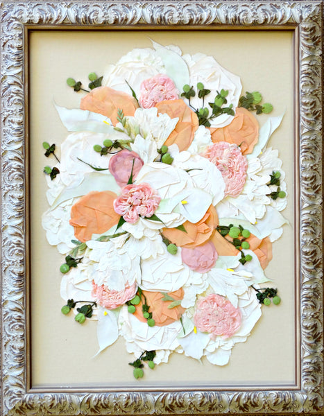 In this 12x16 frame we can design a smaller version of your wedding bouquet. This free formed design allows you to showcase your wedding flowers as a work of art with an option to include your groom's boutonniere. Customize this display with your selection of frame and mat to match your personal style. Prices start at $580