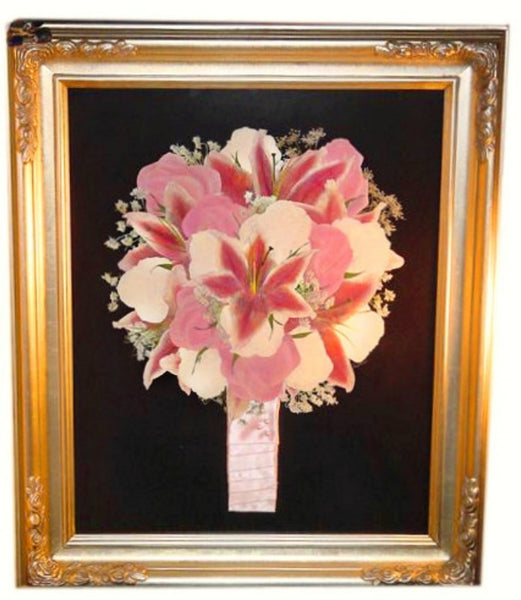 This 16x20 Victorian inspired pressed design allows you to showcase your preserved wedding bouquet as a work of art. There is an option to include your groom's boutonniere and/or a small invitation to add to your preserved design. Customize this display with your selection of frame and mat to match your personal style. Prices start at $595.