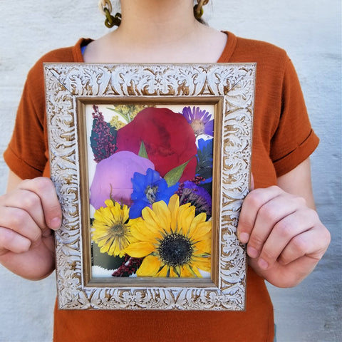 5x7 preservation of flowers. Funeral flowers or wedding