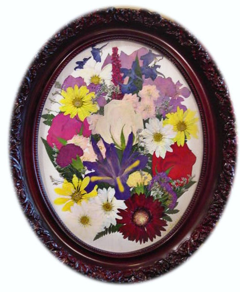 This pressed display showcases your beautiful memorial flowers and is reminiscent of an oil painting. Customize this display with your selection of frame and mat. Prices start at $500