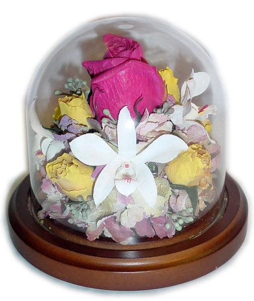 This petite 4x4 dome will showcase a small assortment of your selected flowers. Customize this freeze dried floral arrangement with an oak or silver base. You can add a small memento, token and/or custom nameplate to complete your design. Prices start at $95.